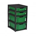 Gratnells Black Single Column Units With 2 Deep And 2 Shallow Trays