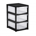 Gratnells Black Single Column Units With 3 Deep Trays