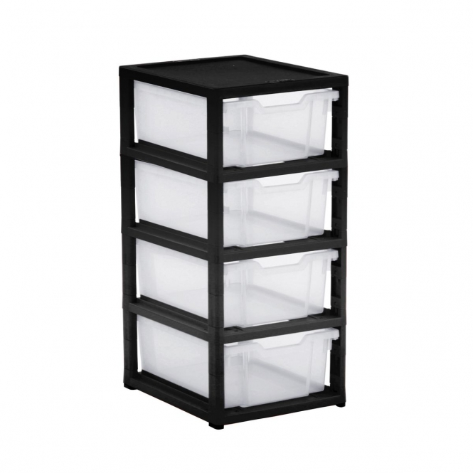 Gratnells Black Single Column Units With 4 Deep Trays