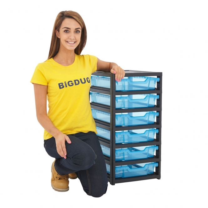 Gratnells Black Single Column Units With 6 Shallow Trays