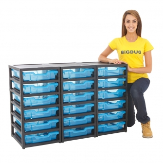 Gratnells Black Triple Column Units With 18 Shallow Trays