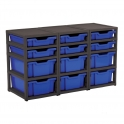 Gratnells Black Triple Column Units With 6 Deep And 6 Shallow Trays