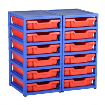 Gratnells Blue Double Column Units With 12 Shallow Trays