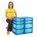 Gratnells Blue Double Column Units With 4 Deep And 4 Shallow Trays