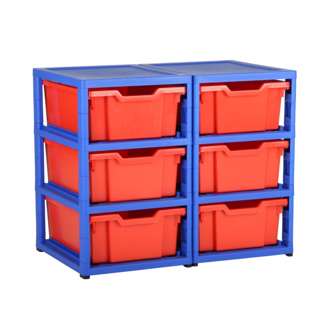 Gratnells Blue Double Column Units With 6 Deep Trays