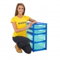 Gratnells Blue Single Column Units With 2 Deep And 2 Shallow Trays