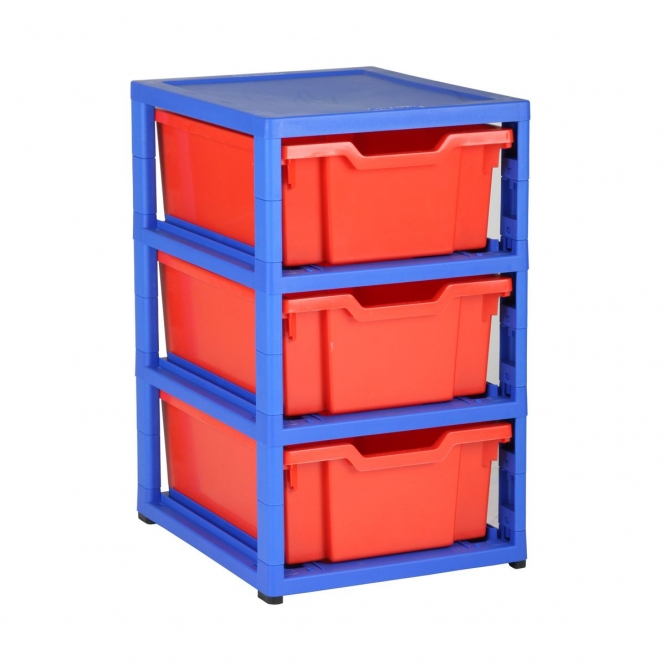 Gratnells Blue Single Column Units With 3 Deep Trays