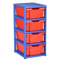 Gratnells Blue Single Column Units With 4 Deep Trays