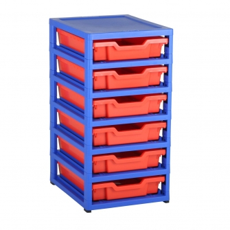 Gratnells Blue Single Column Units With 6 Shallow Trays