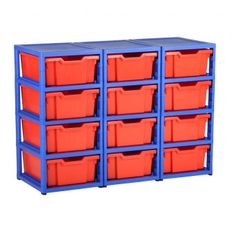 Gratnells Blue Triple Column Units With 12 Deep Trays
