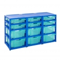 Gratnells Blue Triple Column Units With 6 Deep And 6 Shallow Trays
