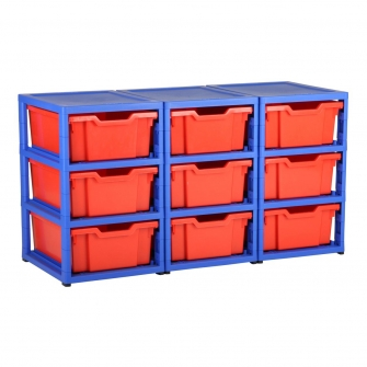 Gratnells Blue Triple Column Units With 9 Deep Trays