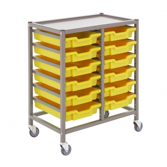 Gratnells Double Column Trolleys With 12 Shallow Trays