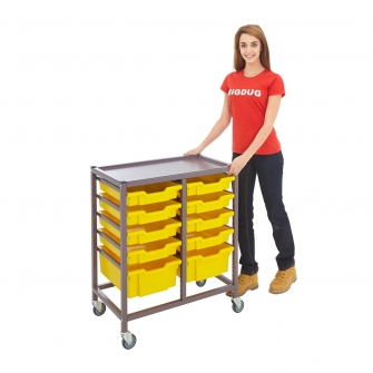 Gratnells Double Column Trolleys With 8 Shallow & 2 Deep Trays