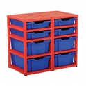 Gratnells Red Double Column Units With 4 Deep And 4 Shallow Trays
