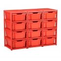 Gratnells Red Triple Column Units With 12 Deep Trays