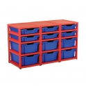 Gratnells Red Triple Column Units With 6 Deep And 6 Shallow Trays