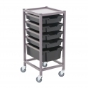 Gratnells Single Column Trolleys With 4 Shallow & 1 Deep Trays