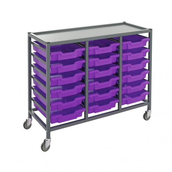 Gratnells Triple Column Trolleys With 18 Shallow Trays