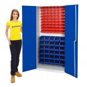 Grey Pick Bin Cupboard With Blue Doors