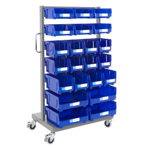 Heavy Duty Parts Bins Trolleys With Blue Bins
