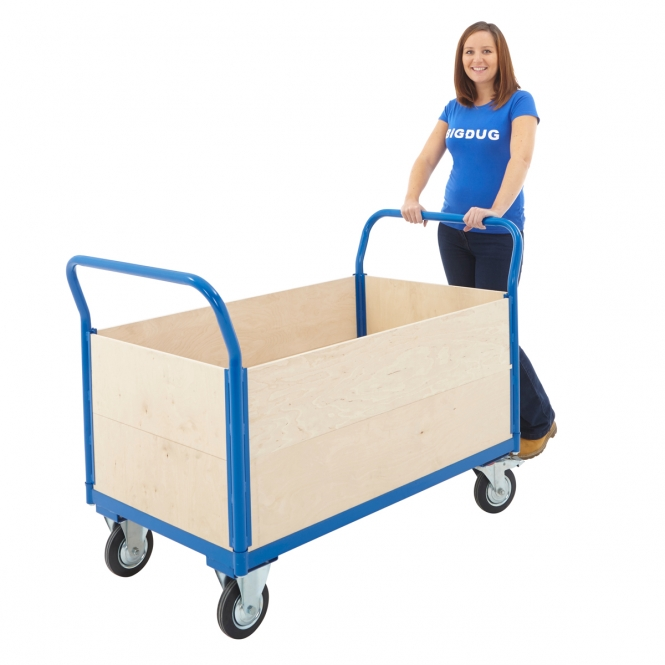Heavy Duty Platform Truck With Full Height Plywood Panels