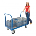 Heavy Duty Platform Truck With Half Height Steel Mesh Panels