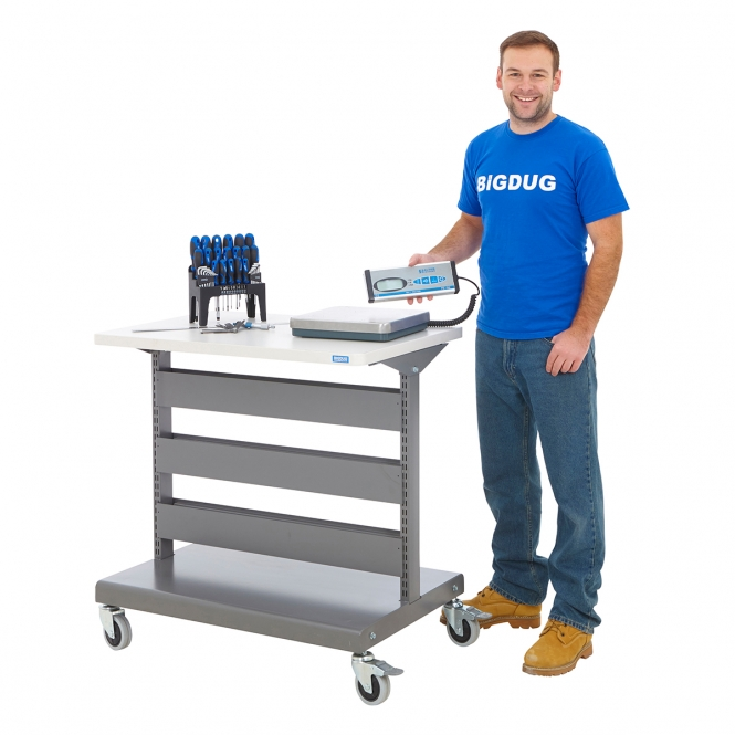 Heavy Duty Table Top Trolleys With Blue Parts Bins