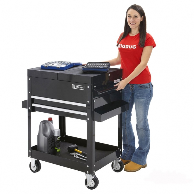 Heavy Duty Tool Trolley Bench With 2 Fixed & 2 Swivel Castors