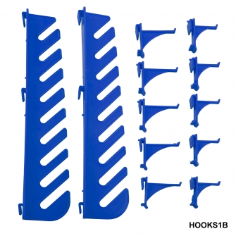 Hook Accessory Kit for Plastic Louvre Panels Includes 10 Blue Hooks & Spanner Set Holder