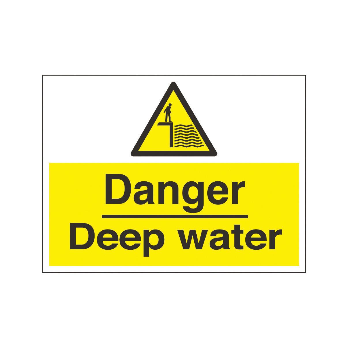 Horizontal Danger Deep Water Safety Sign Hazard