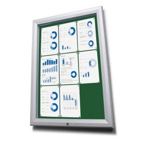 Lockable Outdoor Notice Boards With Green Fabric Display Panels
