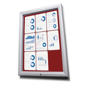 Lockable Outdoor Notice Boards With Red Fabric Display Panels