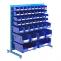 Louvre Panel Station Half Height With Blue Bins