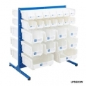 Louvre Panel Station Half Height With White Bins