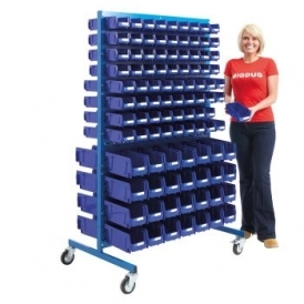 Louvre Panel Trolley Full Height With Blue Bins