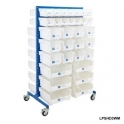 Louvre Panel Trolley Full Height With White Bins