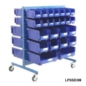 Louvre Panel Trolley Half Height With Blue Bins