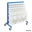 Louvre Panel Trolley Half Height With White Bins