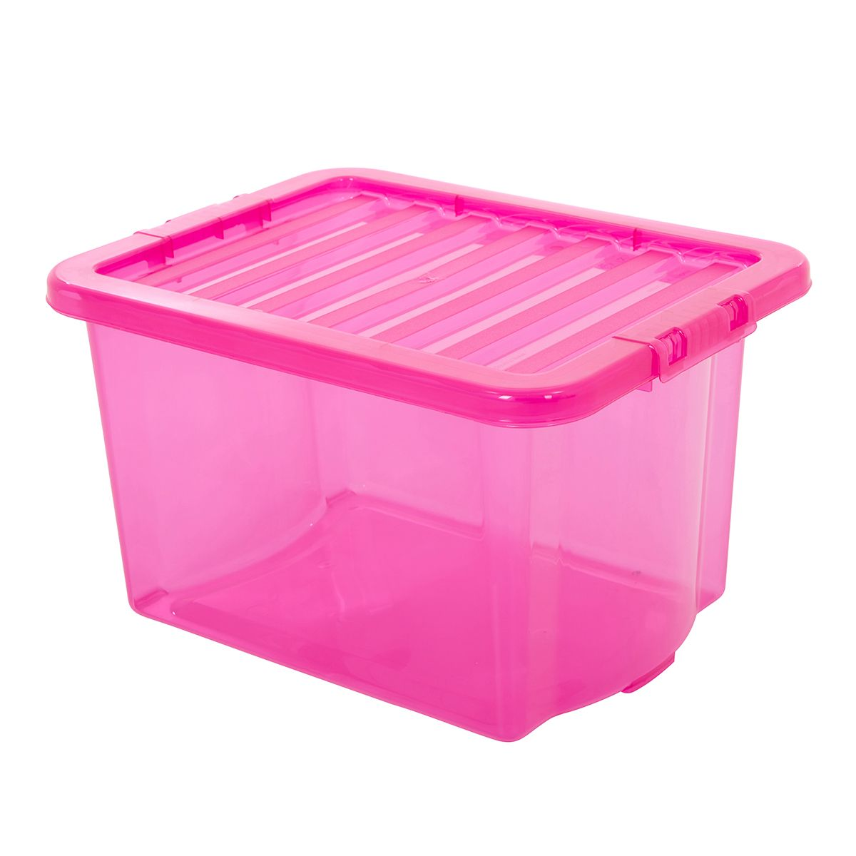 Acrylic Boxes With Lids Uk : Pink plastic storage boxes with clip on lids value