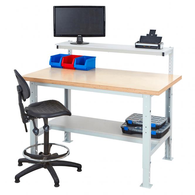 Heavy Duty Height Adjustable Workstation With Half Depth Lower Shelf Workshop Benches Bigdug