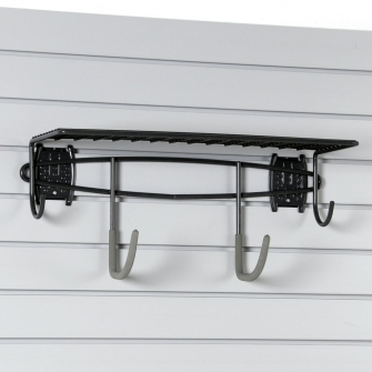 Shelf With Hooks For Slatwall Or Wire Mesh Panels