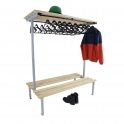 Silver Double Sided Cloakroom Benches With Hangers