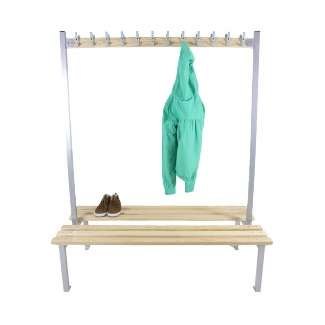 Silver Double Sided Cloakroom Benches With Hooks