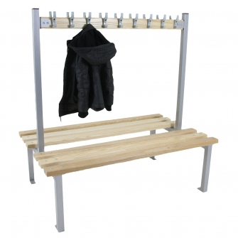 Silver Junior Double Sided Cloakroom Benches With Hooks
