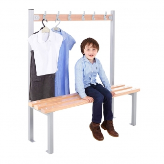 Silver Junior Single Sided Cloakroom Benches With Hooks