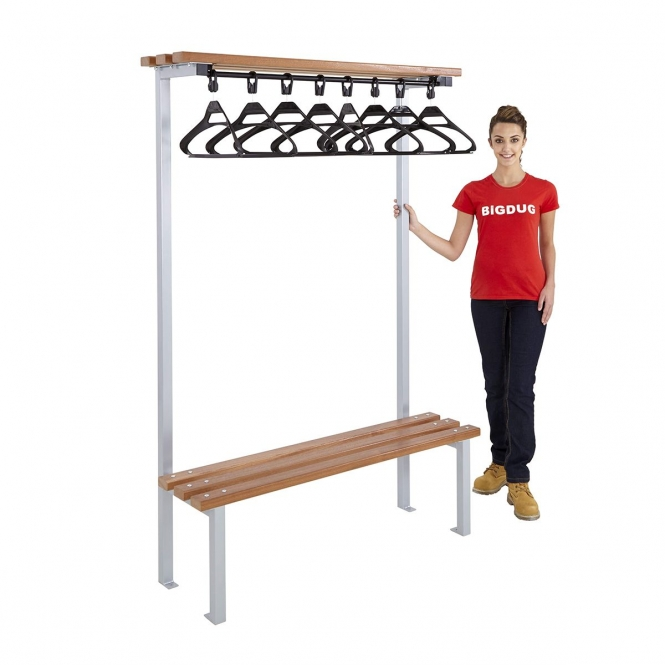 Silver Single Sided Cloakroom Benches With Hangers