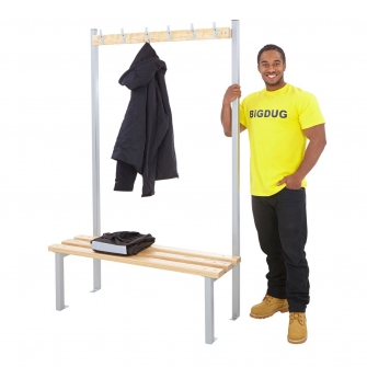 Silver Single Sided Cloakroom Benches With Hooks