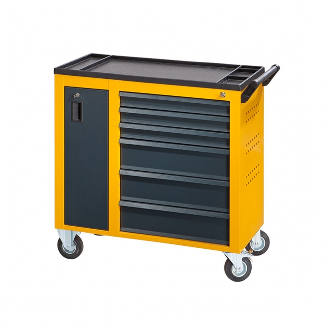 StanKraft Tool Trolley with Vertical Storage Unit and 6 Drawers