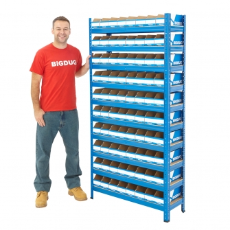 Storage Bays With BiGDUG Flat Pack Cardboard Bins